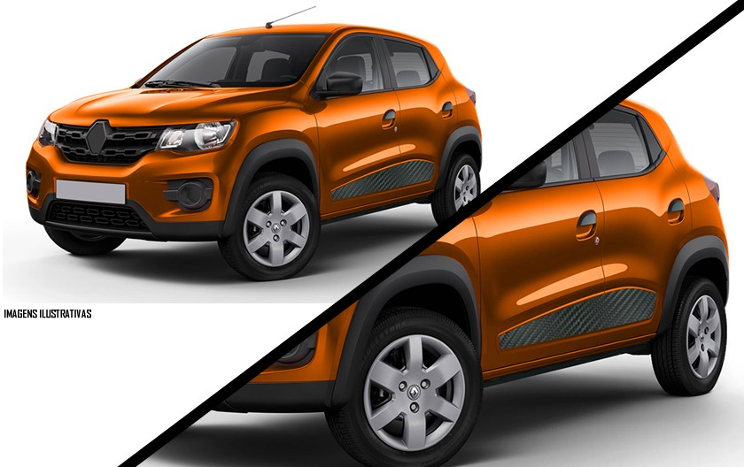 Adesivo Lateral Renault Kwid - Carbono