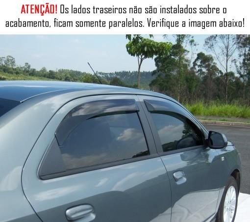 Calha de Chuva Chevrolet Cobalt 2012 2013 2014 2015 2016 2017 2018 - 4 Portas - Original + Primer Aderente