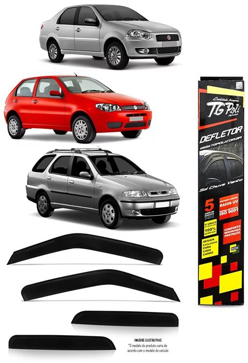 Calha Chuva Defletor TG Poli Fiat Palio e Siena 1996 à 2016  -  Palio Weekend 1996 à 2020 - 4 Portas