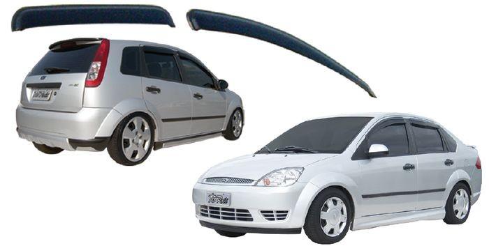 Calha Chuva Defletor TG Poli Ford Fiesta Hatch Sedan 2002 2003 2004 2005 2006 2007 2008 2009 2010 2011 Rocam 2012 2013 2014 - 4 Portas