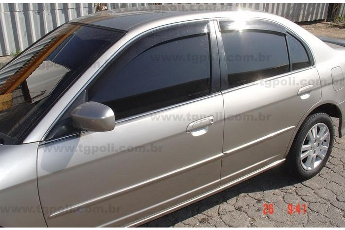 Calha de Chuva Honda Civic 2001 2002 2003 2004 2005 2006 - 4 Portas - Original + Primer Aderente