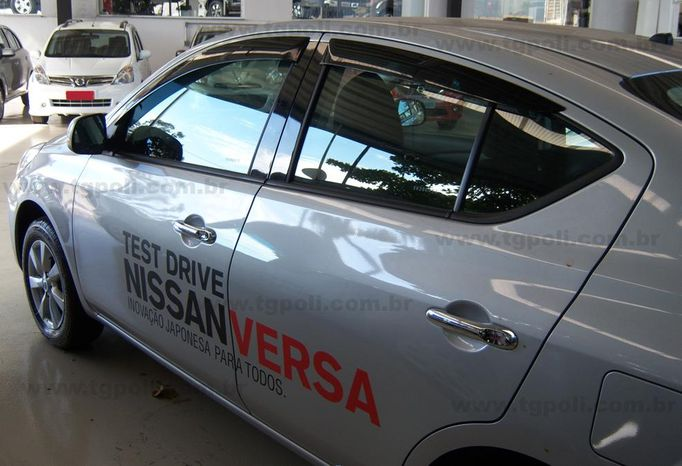 Calha Chuva Defletor TG Poli Nissan Versa 2011 2012 2013 2014 2015 2016 2017 2018 2019 2020 - 4 Portas