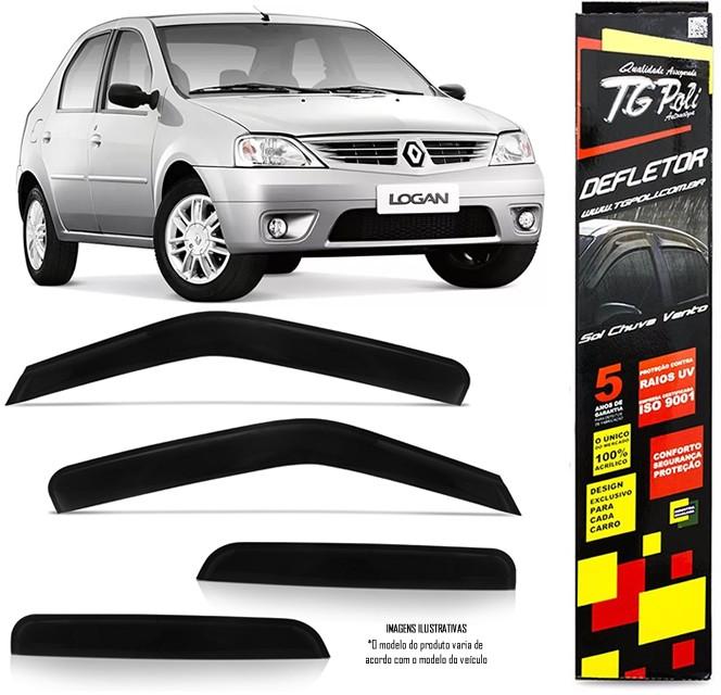 Calha de Chuva Renault Logan 2007 2008 2009 2010 2011 2012 2013- 4 Portas - Original + Primer Aderente