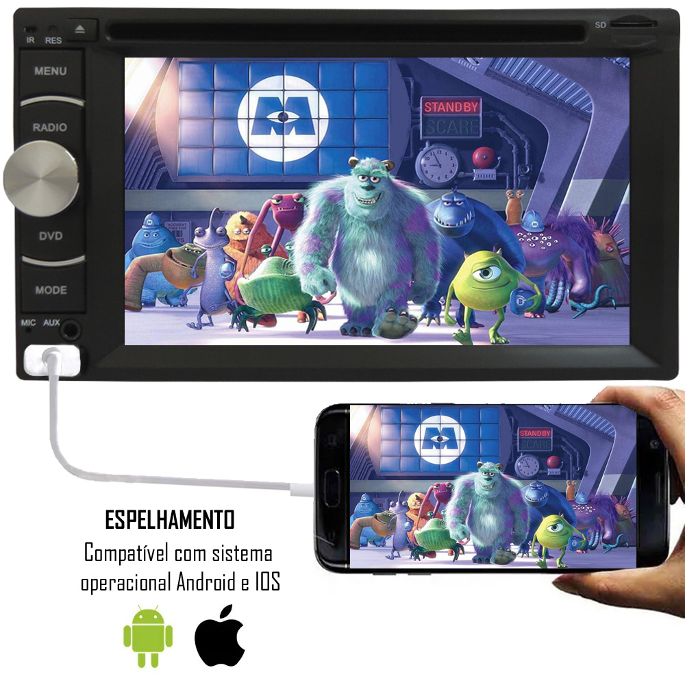 """DVD Player 2 Din E-Tech Universal Tela 6,2"""" Espelhamento Bluetooth USB + 2 Encosto Cabeça AV + Câmera Ré + Receptor TV Digital"""