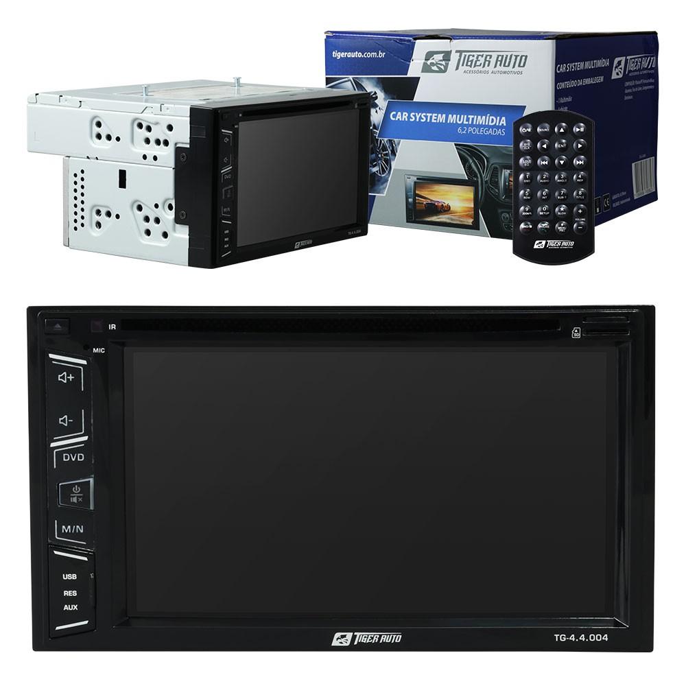"""DVD Player 2 Din Tiger Auto Universal Tela 6,2"""" Espelhamento Bluetooth USB + 2 Encosto Cabeça AV + Câmera Ré + Receptor TV Digital"""