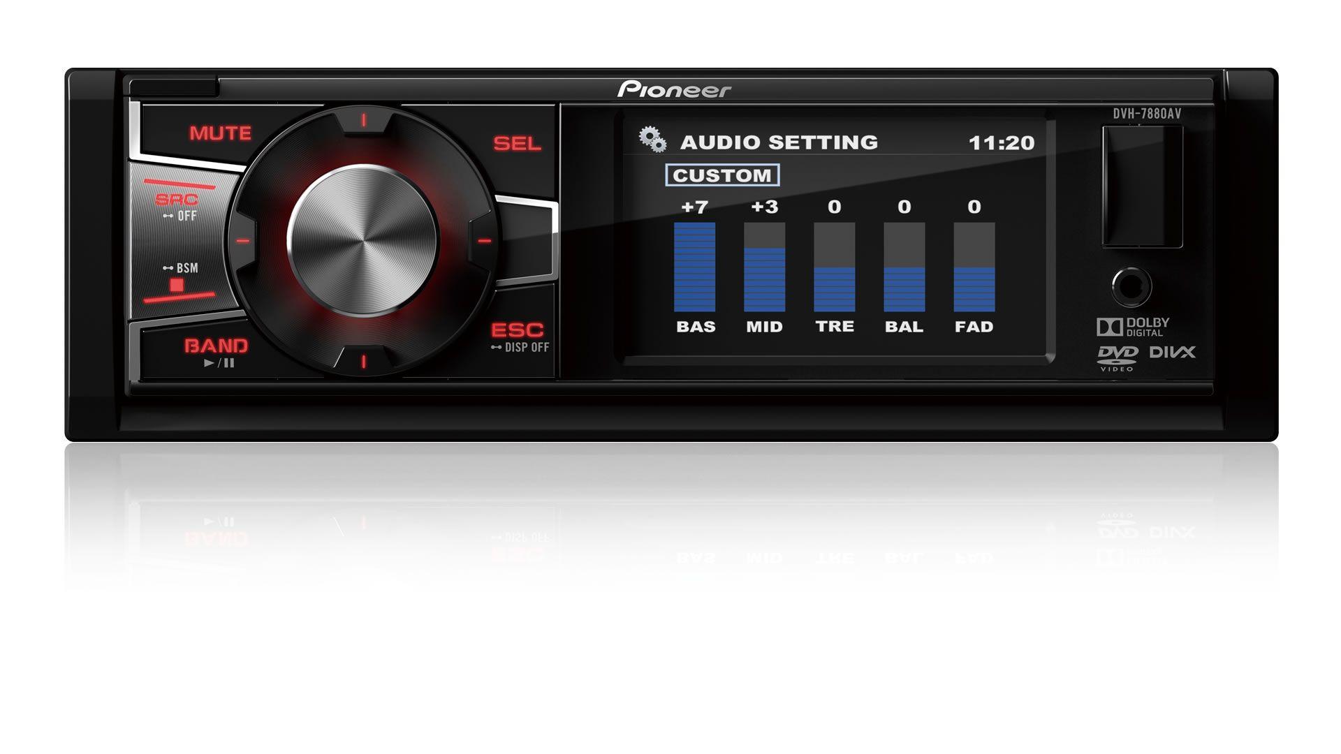 """DVD Player Automotivo 1 Din Pioneer DVH-7880AV Tela 3"""" Poelgadas Com Entrada USB Entrada Auxiliar Entrada Para Câmera de Ré"""