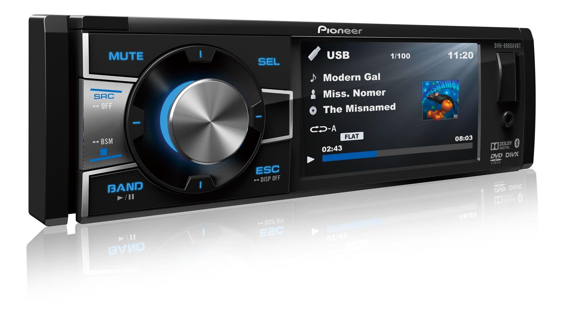 """DVD Player Automotivo 1 Din Pioneer DVH-8880AVBT Tela 3,5"""" Polegadas Com Bluetooth Entrada USB Entrada Auxiliar"""