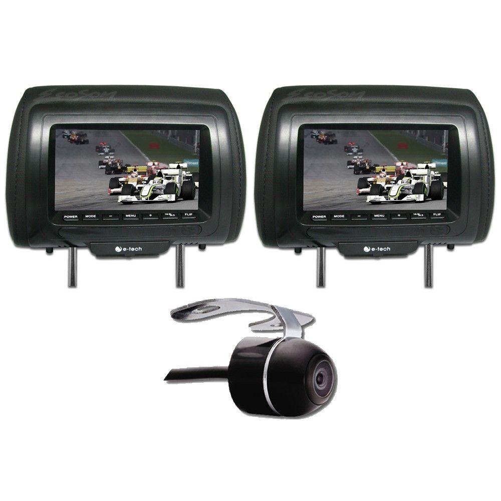 """DVD Player Automotivo 2 DIN E-Tech Universal Tela 6,2"""" - Bluetooth Com Entrada USB Entrada Cartão de Memória Rádio AM FM + 2 Encosto de Cabeça AV + Câmera Ré"""