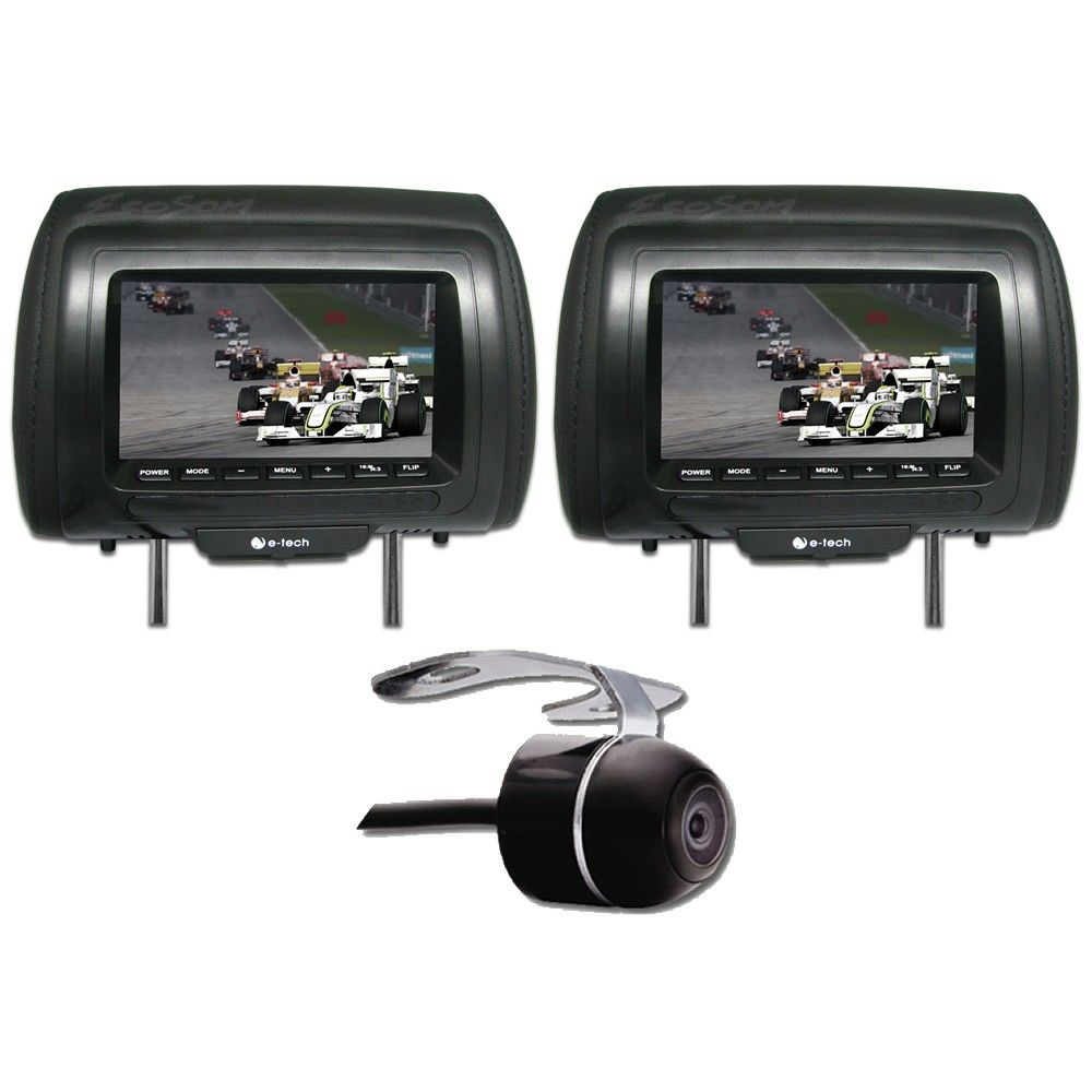 """DVD Player 2 DIN E-Tech Universal Tela 6,2"""" - Bluetooth USB Cartão de Memória Rádio AM FM + 2 Encosto Cabeça AV + Câmera Ré + Receptor TV Digital"""