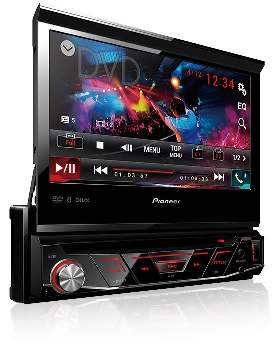 DVD Player Automotivo Retrátil Pioneer AVH-3180BT Tela 7 Polegadas Com Bluetooth Entrada USB + Câmera de Ré + Receptor Sintonizador TV Digital