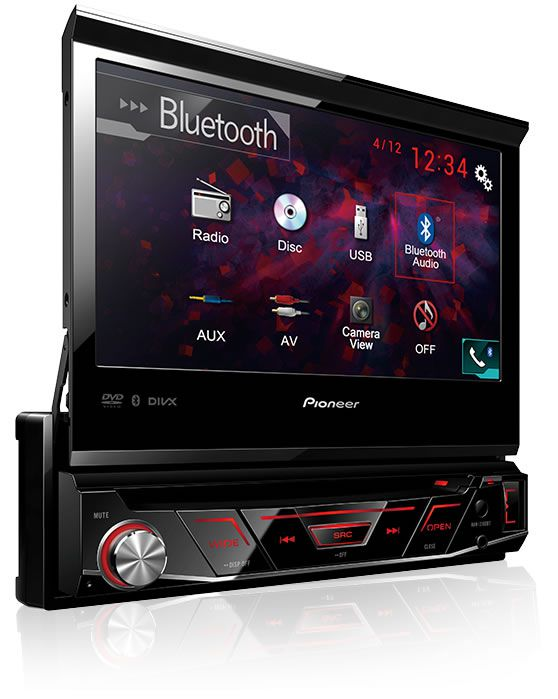 DVD Player Automotivo Retrátil Pioneer AVH-3180BT Tela 7 Polegadas Com Bluetooth Entrada USB Entrada Auxiliar TouchScreen e MP3 + Receptor Sintonizador TV Digital