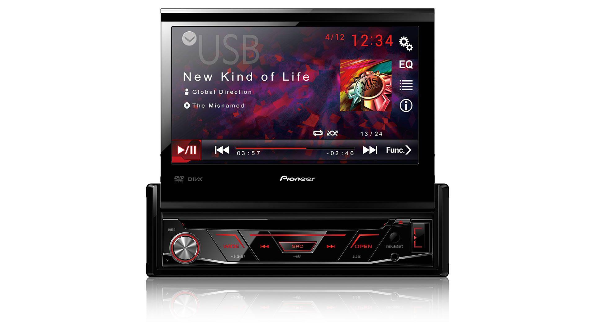 DVD Player Automotivo Retrátil Pioneer AVH-3880DVD Tela 7 Polegadas Com Entrada USB Entrada Auxiliar TouchScreen e MP3 + Câmera de Ré