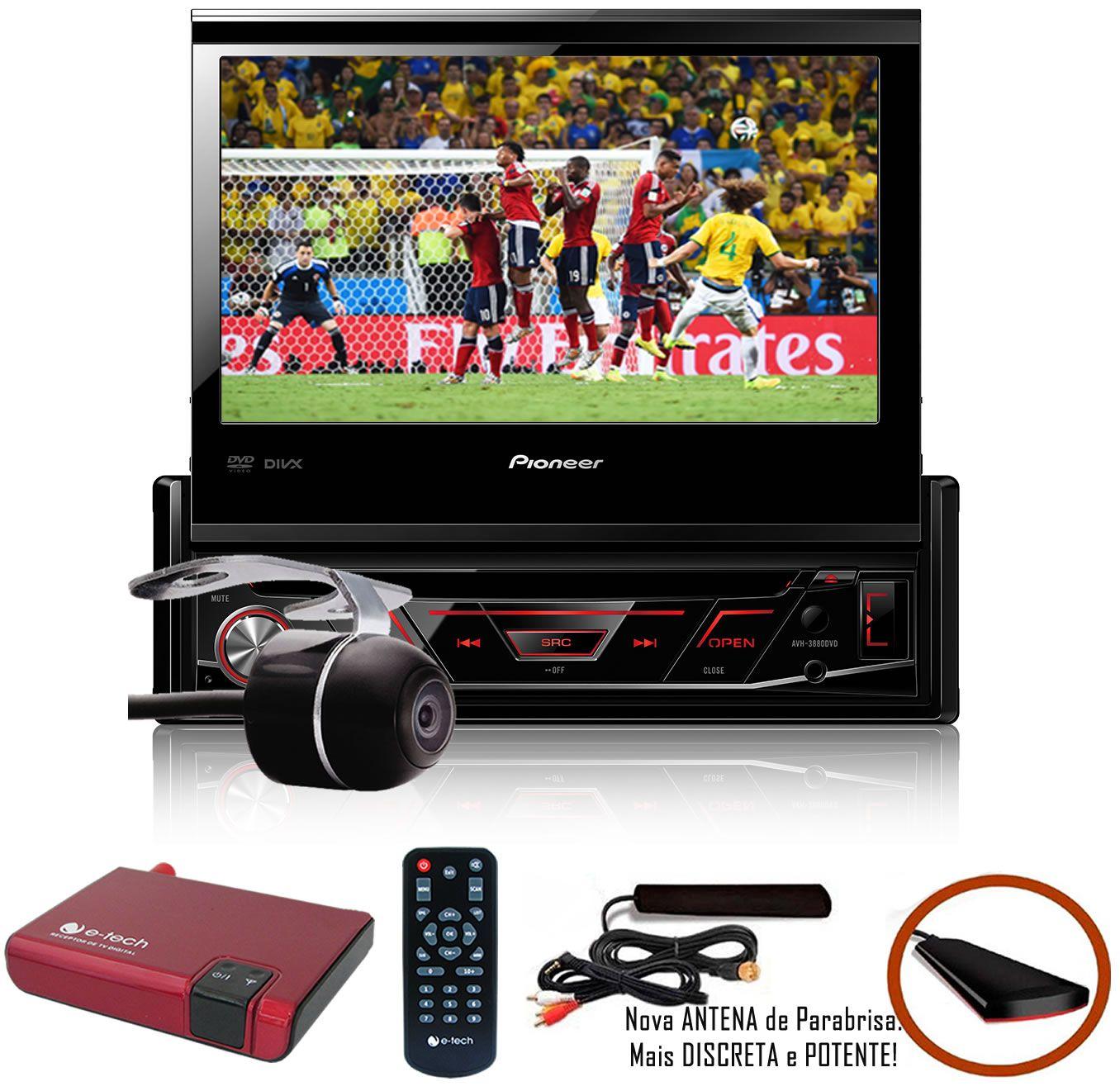DVD Player Automotivo Retrátil Pioneer AVH-3880DVD Tela 7 Polegadas Com Entrada USB Entrada Auxiliar TouchScreen e MP3 + Câmera de Ré + Receptor Sintonizador TV Digital