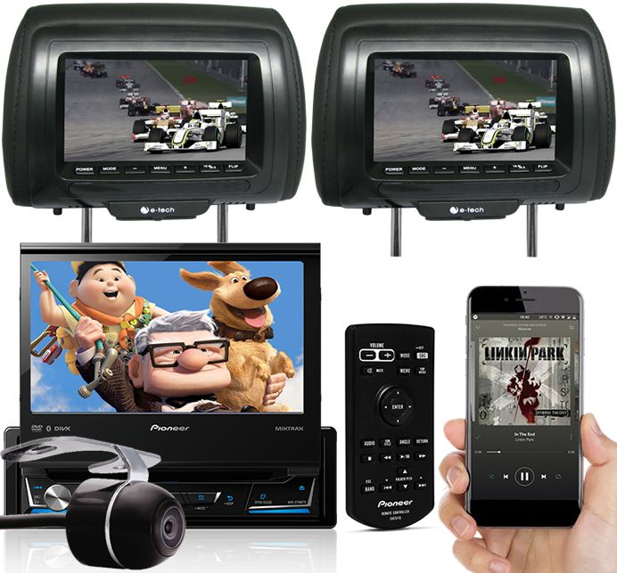 DVD Player Automotivo Retrátil Pioneer AVH-Z7180TV Tela 7 Polegadas Com TV Digital Bluetooth Entrada USB Entrada Auxiliar TouchScreen Mixtrax + 2 Encosto de Cabeça AV + Câmera Ré Grátis