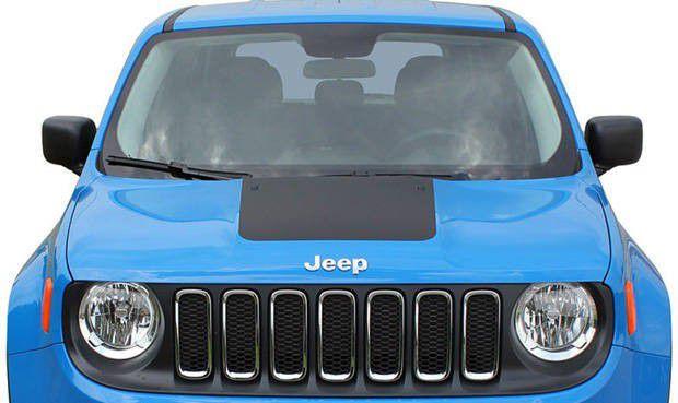 Faixa Adesiva Esportiva do Capô Jeep Renegade 2015 2016 2017 2018 2019 - Preto Fosco ou Blackout