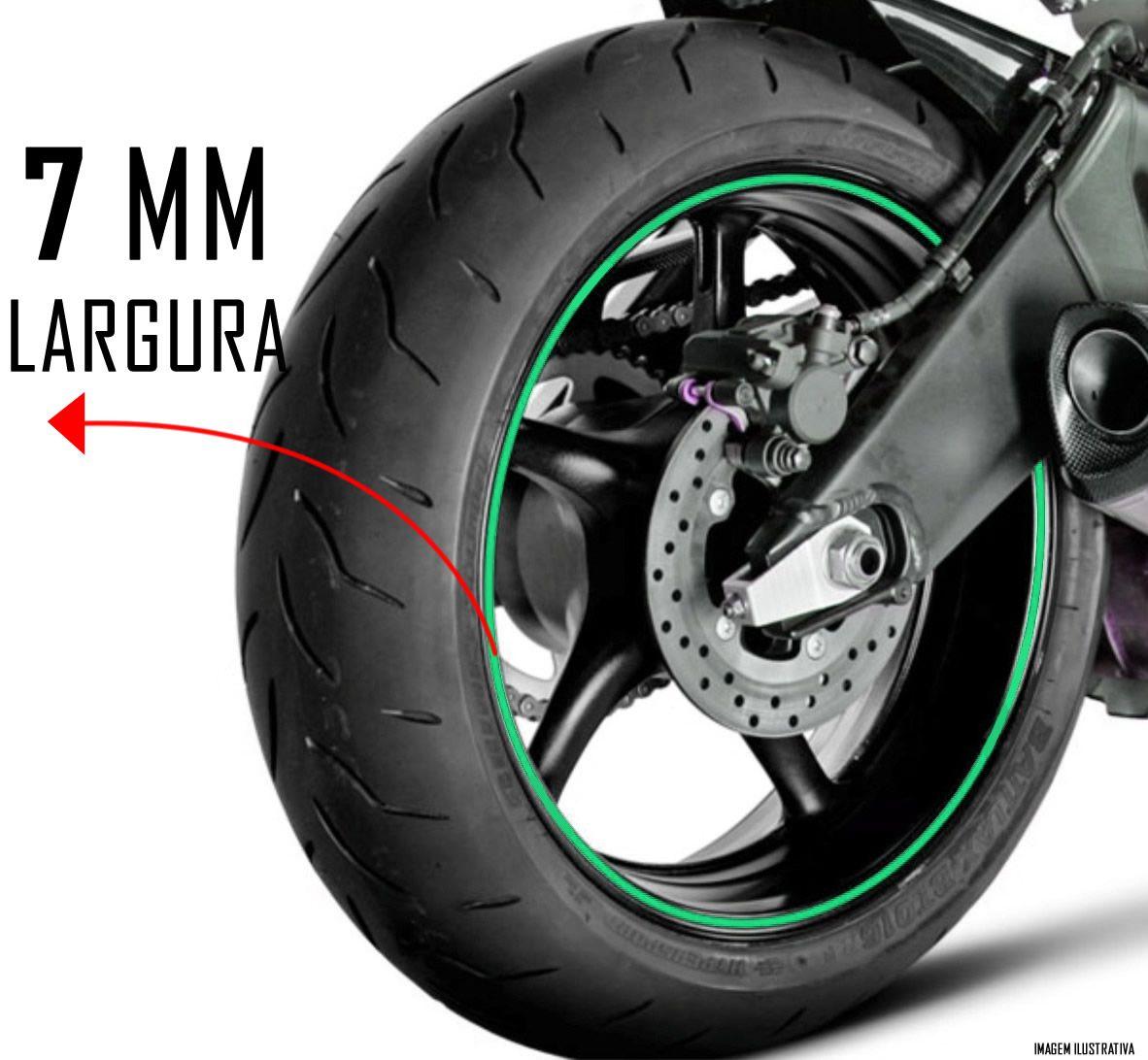 Faixa Refletiva De Roda Para Moto Aro 14 15 16 17 18 19 20 21 - 7mm