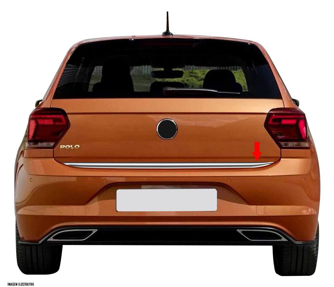 Friso Cromado Resinado Traseiro Porta Malas VW Novo Polo 2018 2019