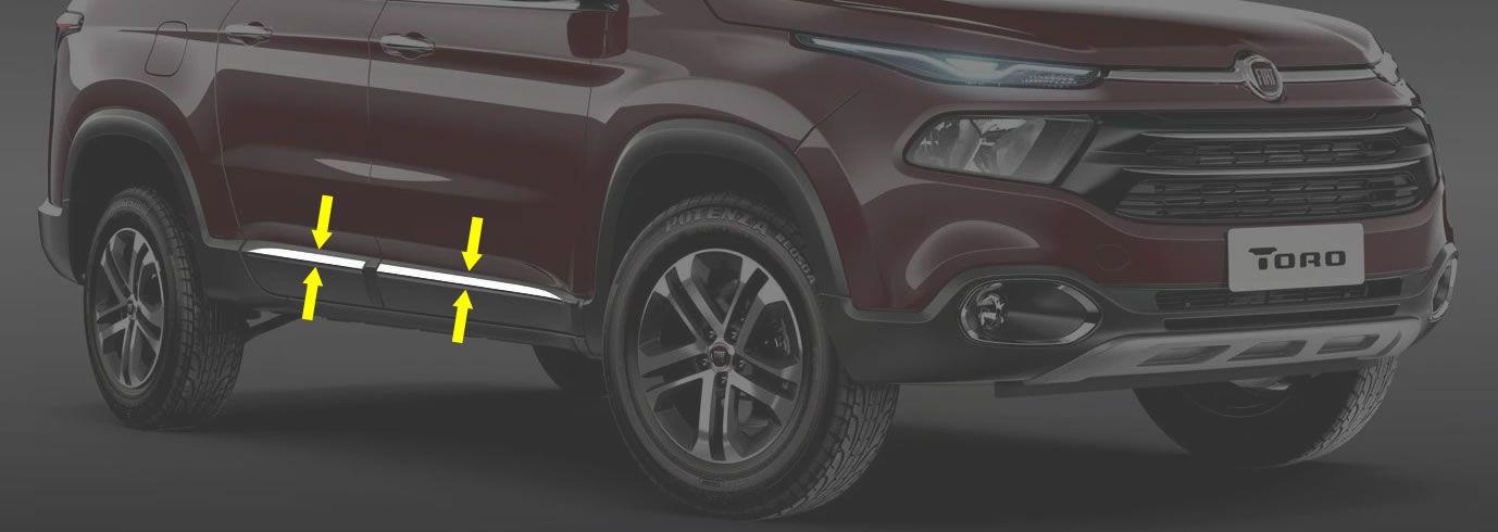Friso Lateral Inferior Cromado Fiat Toro 2017 2018 2018 - 4 Peças