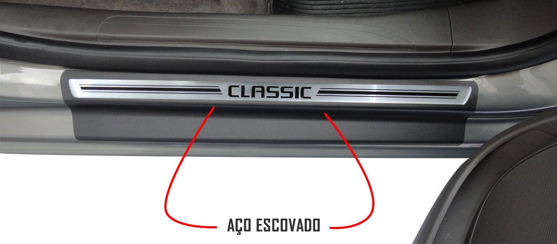 Jg Soleira Classic 4p Aço Escovado Preto Elegance