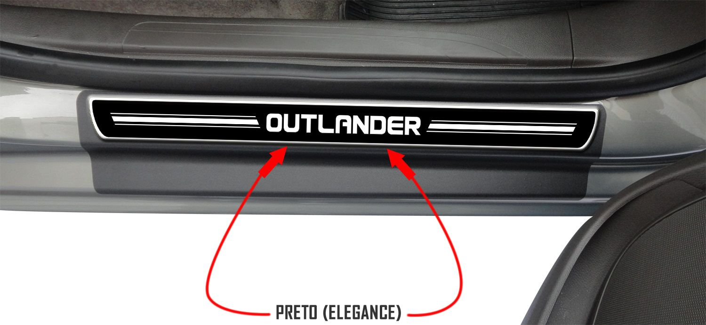 Jogo Soleira Premium Elegance Mitsubishi Outlander 2008 2009 2010 2011 2012 2013 2014 2015 2016 2017 2018 - 4 Portas ( Vinil + Resinada 8 Peças )
