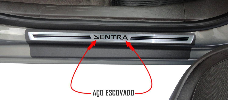 Jg Soleira Sentra 4p Preto Elegance Aço Escovado