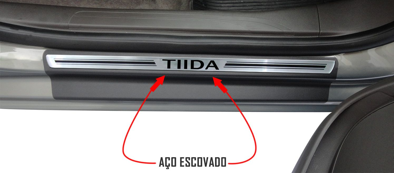 Jg Soleira Tiida 4p Preto Elegance Aço Escovado
