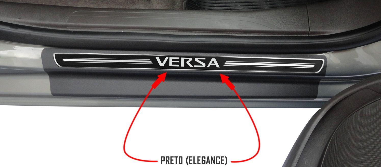 Jg Soleira Versa 4p Preto Elegance Aço Escovado