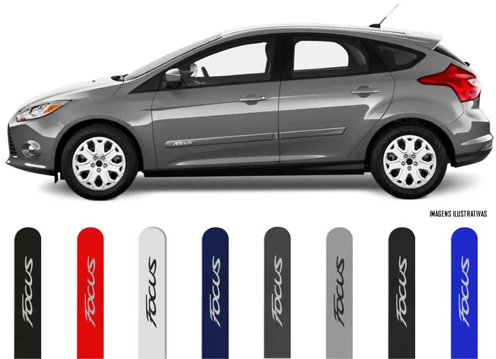 Jogo Friso Lateral Pintado Ford Focus Hatch e Sedan 2009 2010 2011 2012 2013 2014 2015 2016 2017 2018 2019 - Cor Original