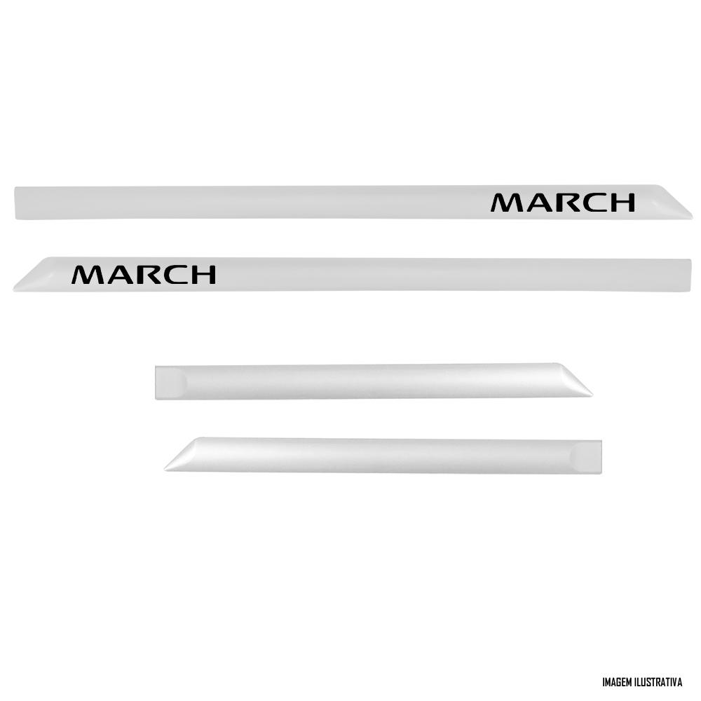 Jogo Friso Lateral Pintado Nissan March 2014 2015 2016 2018 2019 2020 2021 - Cor Original