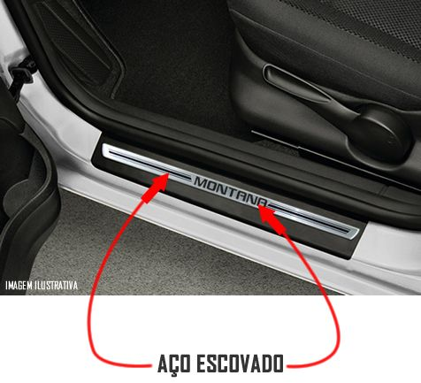 Jogo Soleira Premium Elegance Chevrolet Montana 2010 2011 2012 2013 2014 2015 2016 2017  - 2 Portas ( Vinil + Resinada 4 Peças )