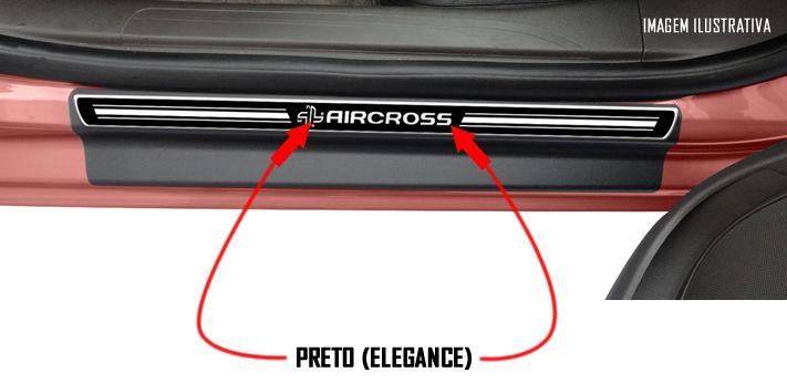 Jogo Soleira Premium Elegance Citroen Aircross 2009 2010 2011 2012 2013 2014 2015 2016 2017 2018 - 4 Portas ( Vinil + Resinada 8 Peças )