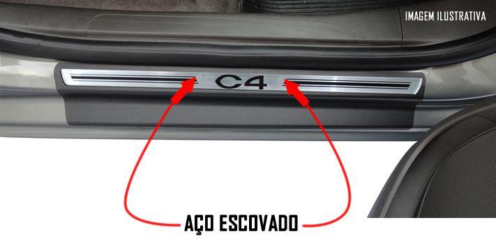 Jogo Soleira Premium Elegance Citroen C4 e C4 Pallas 2002 2003 2004 2005 2006 2007 2008 2009 2010 2011 2012 2013 2014 - 4 Portas ( Vinil + Resinada 8 Peças )