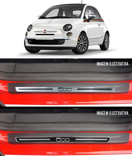 Jogo Soleira Premium Elegance Fiat 500 2008 2009 2010 2011 2012 2013 2014 2015 - 2 Portas ( Vinil + Resinada 8 Peças )