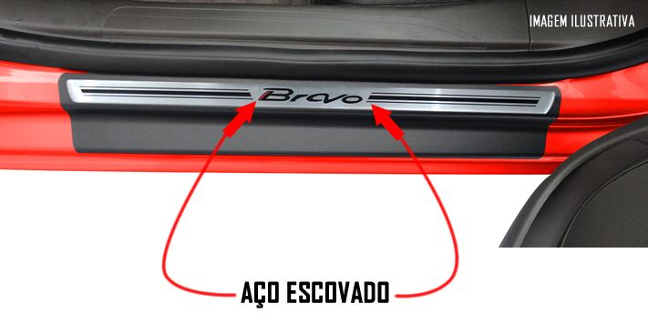 Jogo Soleira Premium Elegance Fiat Bravo 2011 2012 2013 2014 2015 2016 - 4 Portas ( Vinil + Resinada 8 Peças )