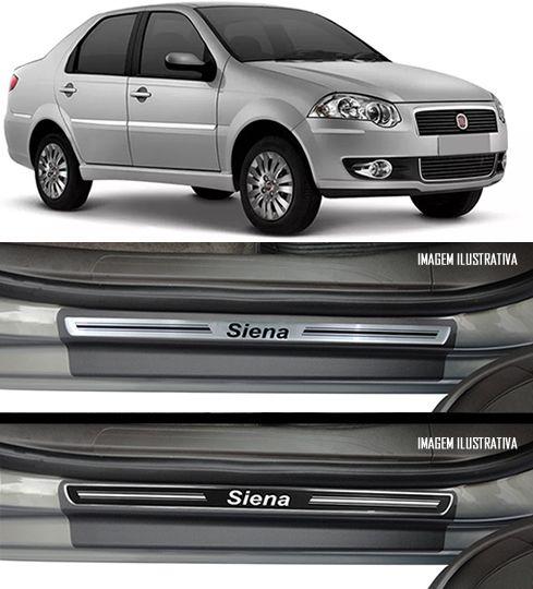 Jogo Soleira Premium Elegance Fiat Siena 1998 1999 2000 2001 2002 2003 2004 2005 2006 2007 2008 2010 2011 2012 - 4 Portas ( Vinil + Resinada 8 Peças )