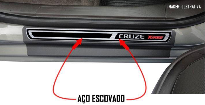 Jogo Soleira Premium Elegance GM Cruze Turbo Todos os Anos - 4 Portas ( Vinil + Resinada 8 Peças )