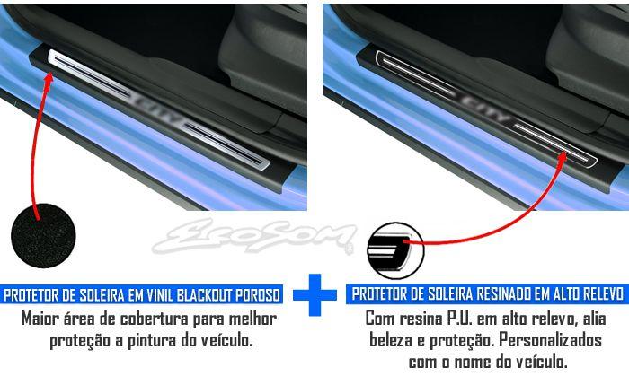 Jogo Soleira Premium Elegance Honda City 2009 2010 2011 2012 2013 2014 2015 2016 2017 2018 - 4 Peças ( Vinil + Resinada 8 Peças )