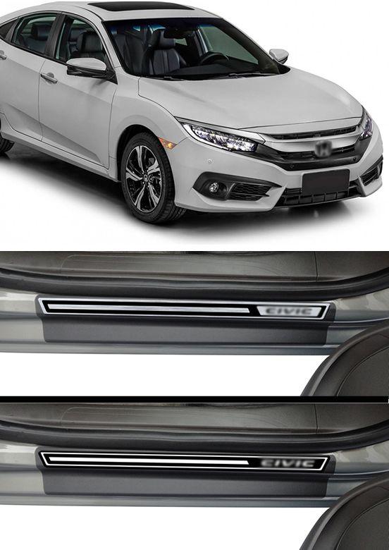 Jogo Soleira Premium Elegance Honda Civic G10 2016 2017 - 4 Portas ( Vinil + Resinada 8 Peças )