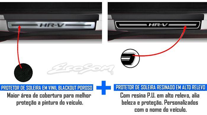 Jogo Soleira Premium Elegance Honda HRV 2015 2016 - 4 Portas ( Vinil + Resinada 8 Peças )