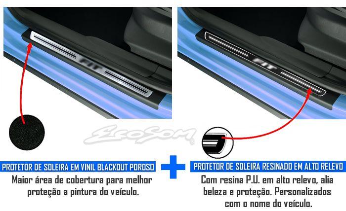 Jogo Soleira Premium Elegance Honda New Fit 2009 2010 2011 2012 2013 2014 2015 2016 2017 2018 - 4 Portas (Vinil + Resinada 8 Peças)