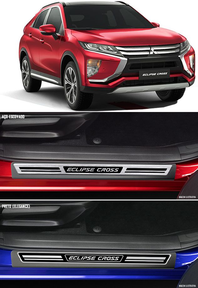 Jogo Soleira Premium Elegance Mitsubishi Eclipse Cross 2019 2020 - 4 Portas ( Vinil + Resinada 8 Peças )