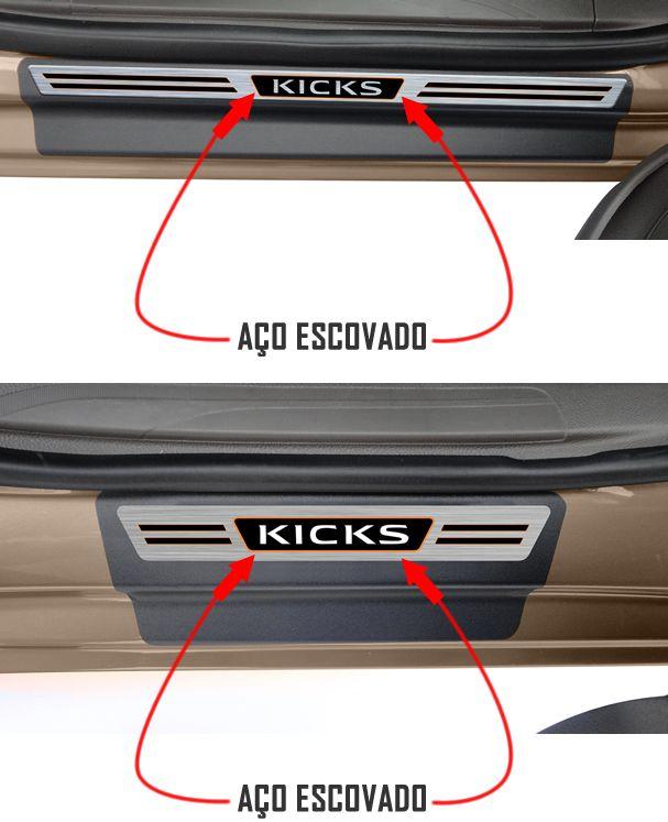 Jogo Soleira Premium Elegance Nissan Kicks - 4 Portas ( Vinil + Resinada 8 Peças )
