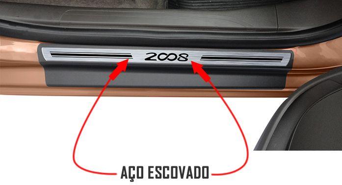 Jogo Soleira Premium Elegance Peugeot 2008 2015 2016 2017 2018 - 4 Portas ( Vinil + Resinada 8 Peças )