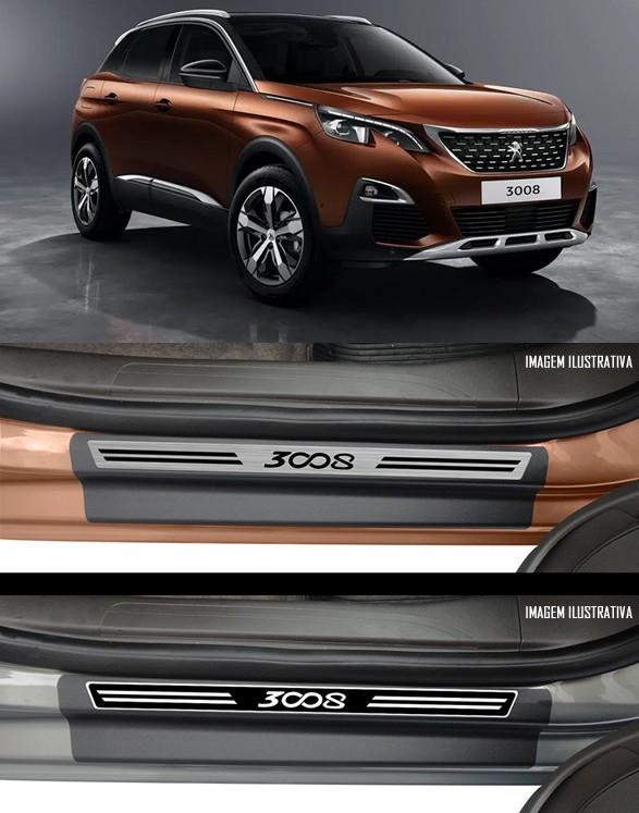 Jogo Soleira Premium Elegance Peugeot 3008 - 4 Portas ( Vinil + Resinada 8 Peças )