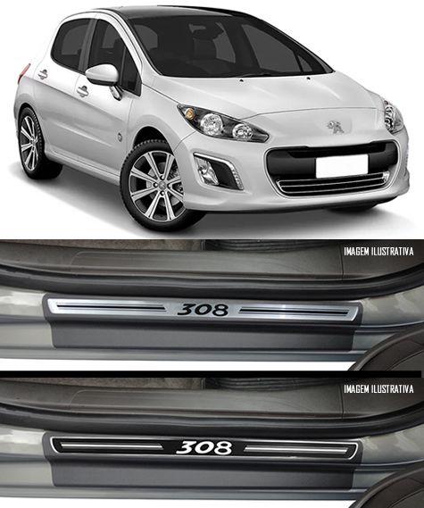 Jogo Soleira Premium Elegance Peugeot 308 2012 2013 2014 2015 2016 2017 2018 - 4 Portas ( Vinil + Resinada 8 Peças )