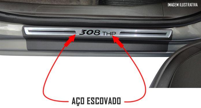 Jogo Soleira Premium Elegance Peugeot 308 THP - 4 Portas ( Vinil + Resinada 8 Peças )