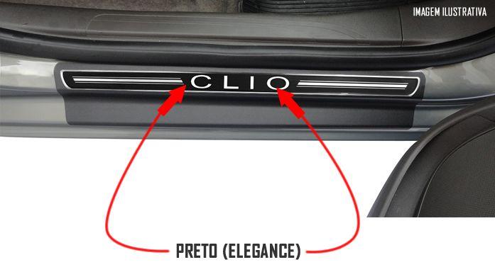 Jogo Soleira Premium Elegance Renault Clio 2013 2014 2015 2016 2017 - 4 Portas ( Vinil + Resinada 8 Peças )