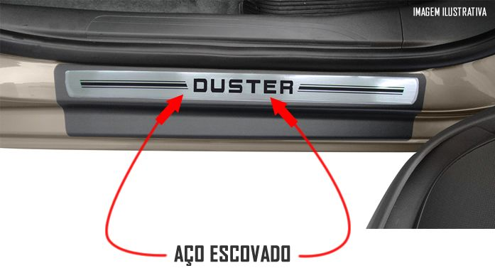 Jogo Soleira Premium Elegance Renault Duster 2011 2012 2013 2014 2015 2016 2017 2018 - 4 Portas ( Vinil + Resinada 8 Peças )