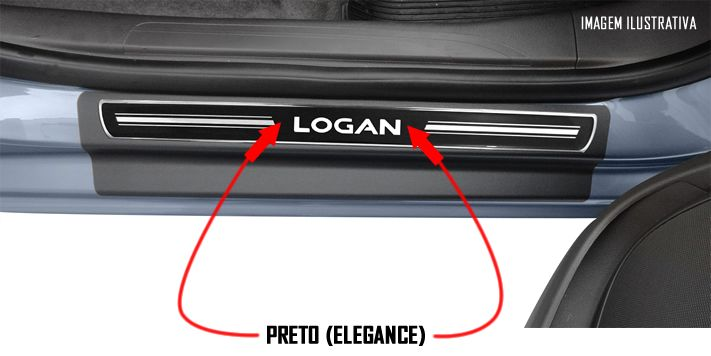 Jogo Soleira Premium Elegance Renault Novo Logan 2014 2015 2016 2017 2018 - 4 Portas ( Vinil + Resinada 8 Peças )