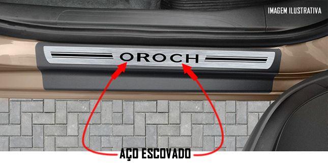 Jogo Soleira Premium Elegance Renault Oroch 2015 2016 2017 2018 - 4 Portas ( Vinil + Resinada 8 Peças )